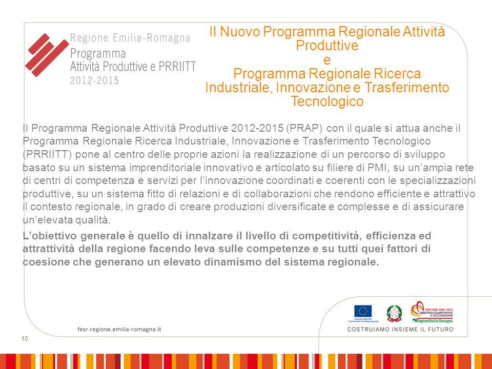 10 Il Nuovo Programma Regionale Attività Produttive e Programma Regionale Ricerca Industriale, Innovazione e Trasferimento Tecnologico Il Programma Re
