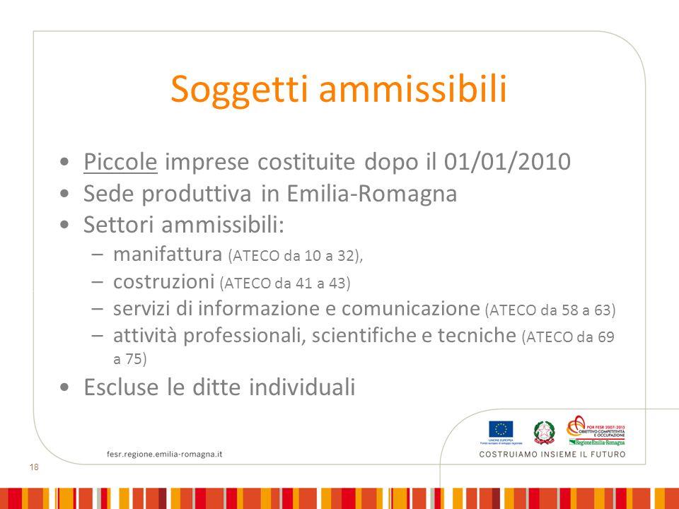 18 Soggetti ammissibili Piccole imprese costituite dopo il 01/01/2010 Sede produttiva in Emilia-Romagna Settori ammissibili: –manifattura (ATECO da 10