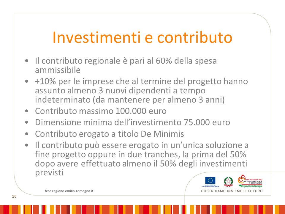 20 Investimenti e contributo Il contributo regionale è pari al 60% della spesa ammissibile +10% per le imprese che al termine del progetto hanno assun