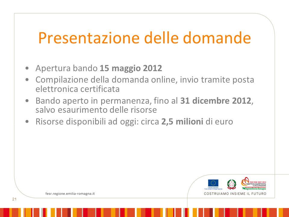 21 Presentazione delle domande Apertura bando 15 maggio 2012 Compilazione della domanda online, invio tramite posta elettronica certificata Bando aper