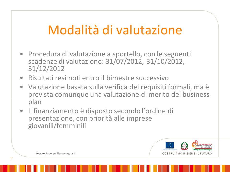 22 Modalità di valutazione Procedura di valutazione a sportello, con le seguenti scadenze di valutazione: 31/07/2012, 31/10/2012, 31/12/2012 Risultati