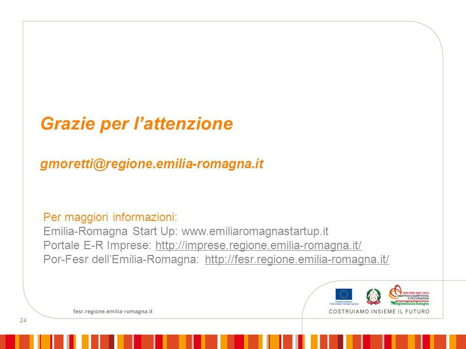 24 Grazie per lattenzione gmoretti@regione.emilia-romagna.it Per maggiori informazioni: Emilia-Romagna Start Up: www.emiliaromagnastartup.it Portale E