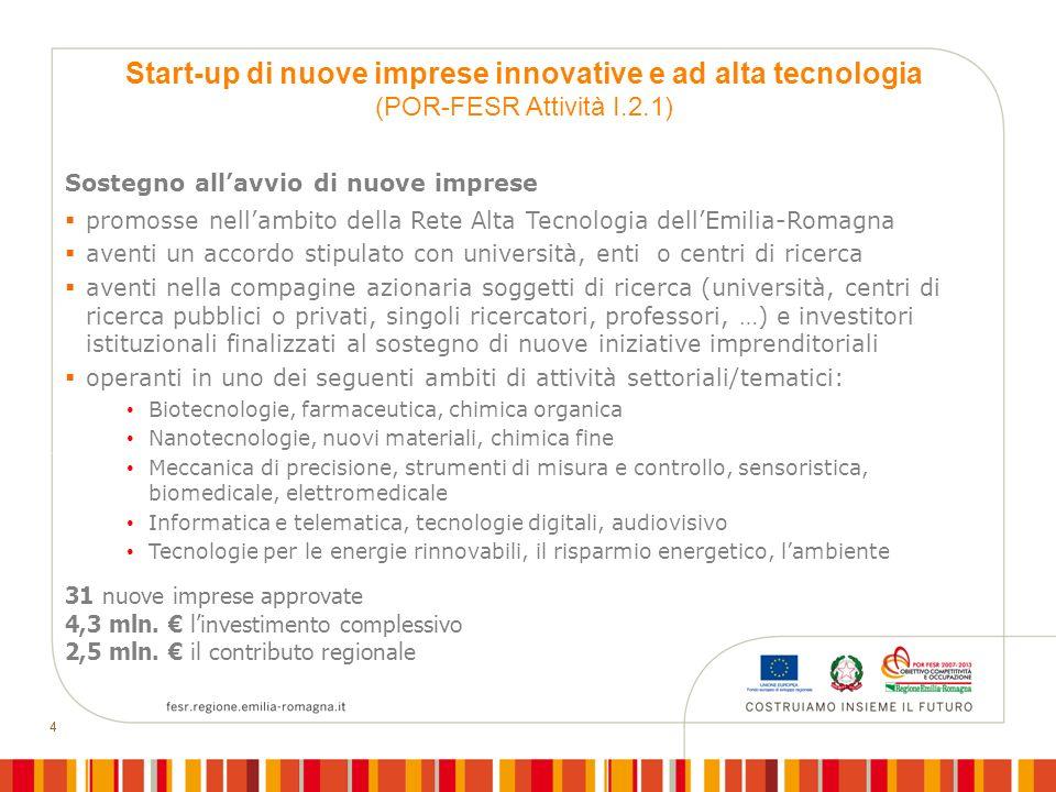 44 Sostegno allavvio di nuove imprese promosse nellambito della Rete Alta Tecnologia dellEmilia-Romagna aventi un accordo stipulato con università, en
