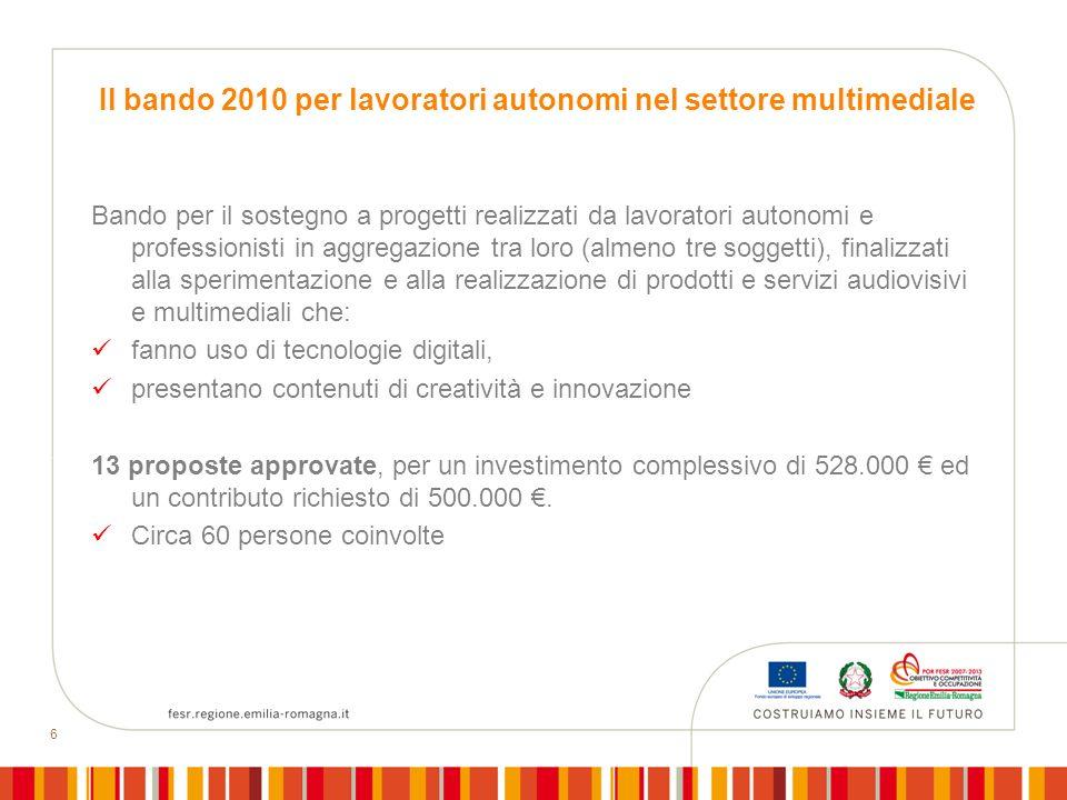6 Il bando 2010 per lavoratori autonomi nel settore multimediale Bando per il sostegno a progetti realizzati da lavoratori autonomi e professionisti i