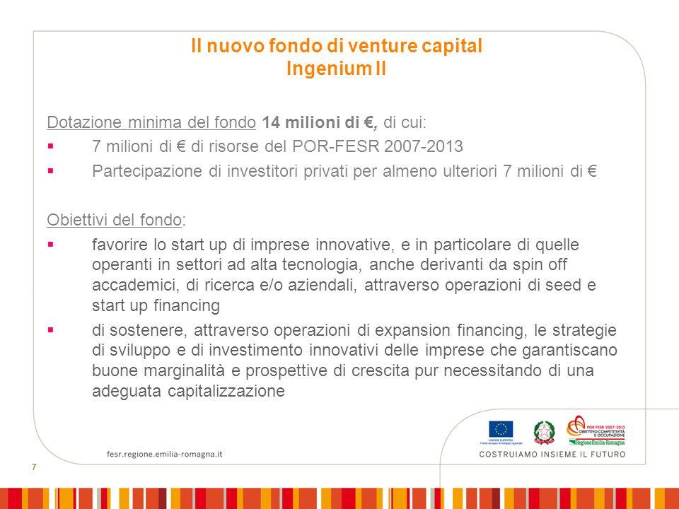 77 Dotazione minima del fondo 14 milioni di, di cui: 7 milioni di di risorse del POR-FESR 2007-2013 Partecipazione di investitori privati per almeno u