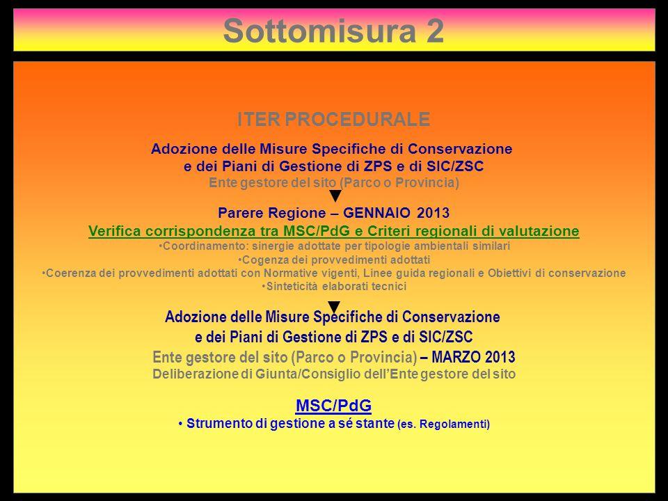Sottomisura 2 ITER PROCEDURALE Adozione delle Misure Specifiche di Conservazione e dei Piani di Gestione di ZPS e di SIC/ZSC Ente gestore del sito (Pa