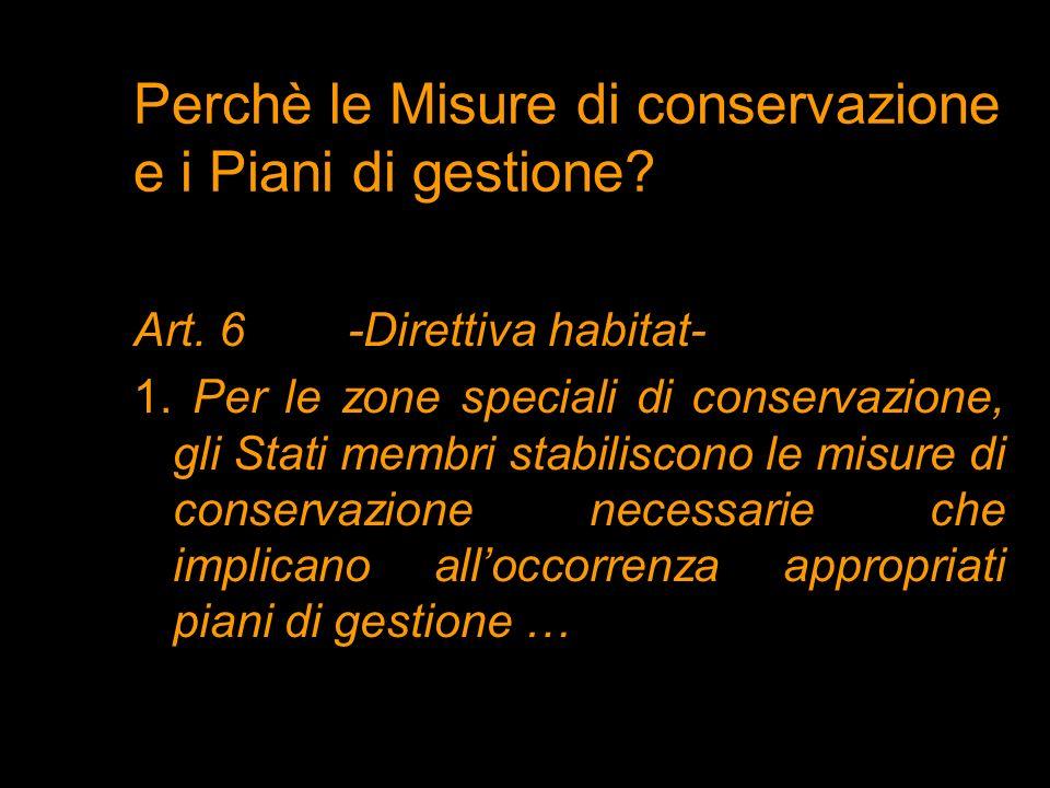 Perchè le Misure di conservazione e i Piani di gestione? Art. 6 -Direttiva habitat- 1. Per le zone speciali di conservazione, gli Stati membri stabili