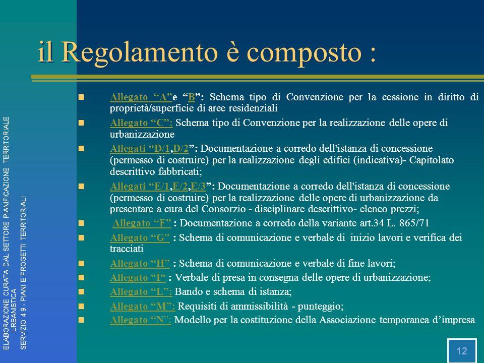 12 Allegato Ae B: Schema tipo di Convenzione per la cessione in diritto di proprietà/superficie di aree residenziali Allegato AB Allegato C: Schema ti
