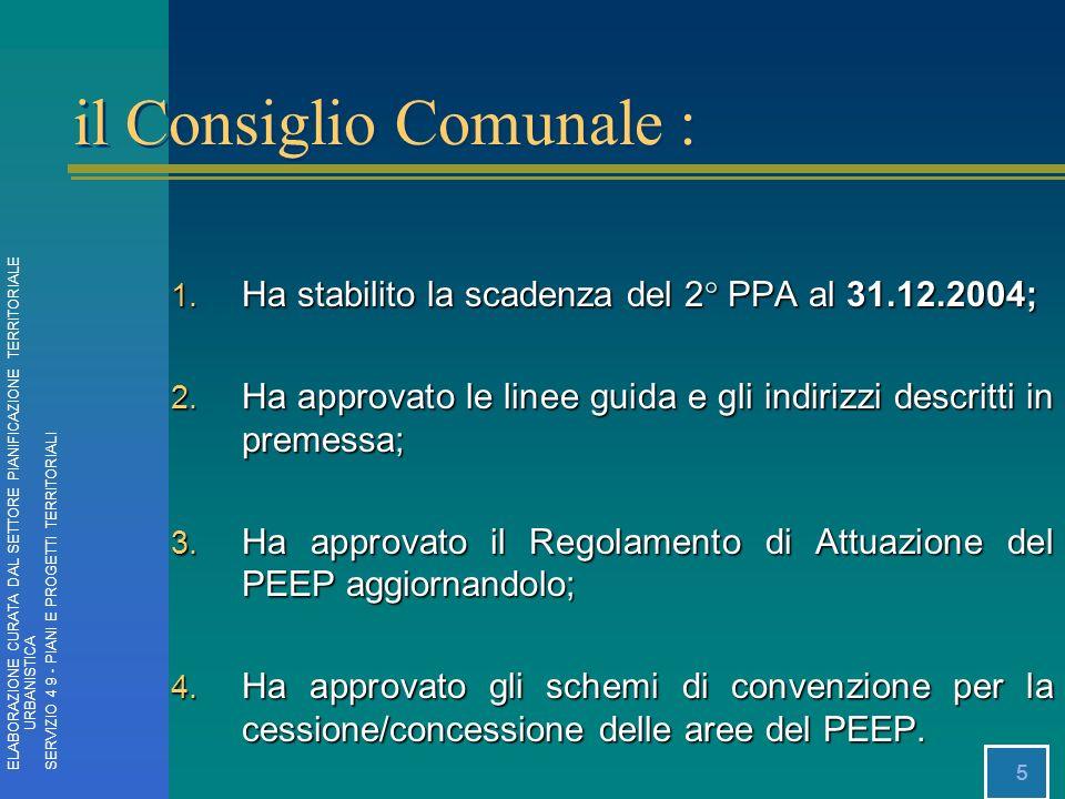 5 1. Ha stabilito la scadenza del 2° PPA al 31.12.2004; 2. Ha approvato le linee guida e gli indirizzi descritti in premessa; 3. Ha approvato il Regol
