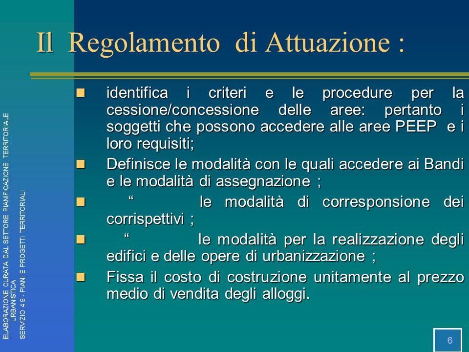 6 identifica i criteri e le procedure per la cessione/concessione delle aree: pertanto i soggetti che possono accedere alle aree PEEP e i loro requisi