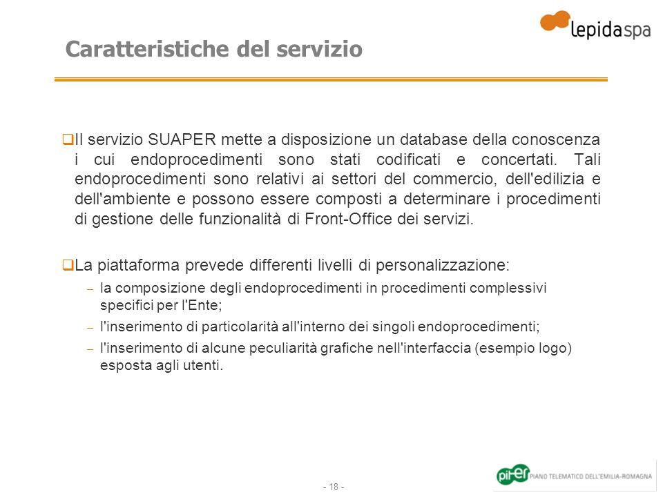 - 18 - Caratteristiche del servizio Il servizio SUAPER mette a disposizione un database della conoscenza i cui endoprocedimenti sono stati codificati e concertati.