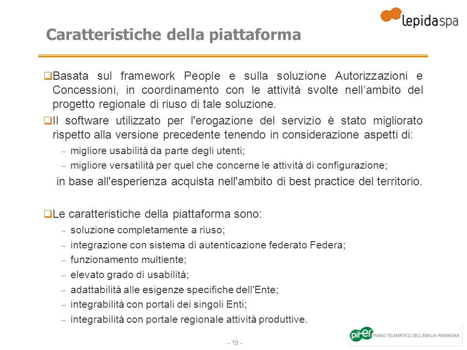 - 19 - Caratteristiche della piattaforma Basata sul framework People e sulla soluzione Autorizzazioni e Concessioni, in coordinamento con le attività svolte nellambito del progetto regionale di riuso di tale soluzione.