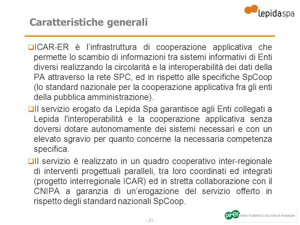 - 21 - Caratteristiche generali ICAR-ER è linfrastruttura di cooperazione applicativa che permette lo scambio di informazioni tra sistemi informativi