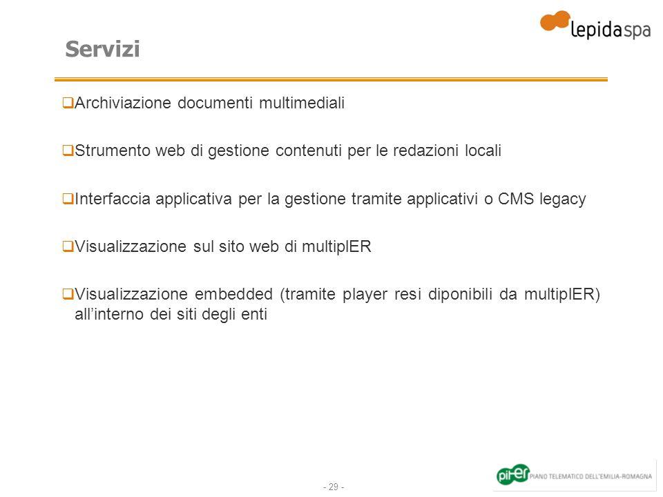 - 29 - Servizi Archiviazione documenti multimediali Strumento web di gestione contenuti per le redazioni locali Interfaccia applicativa per la gestion