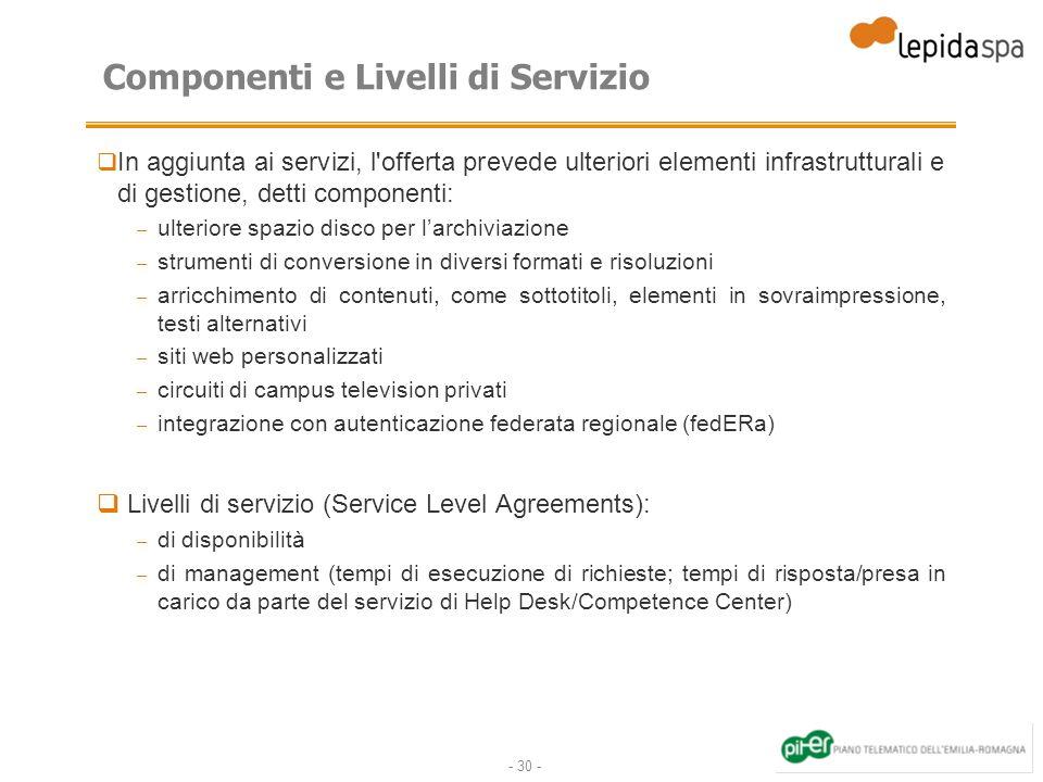 - 30 - Componenti e Livelli di Servizio In aggiunta ai servizi, l'offerta prevede ulteriori elementi infrastrutturali e di gestione, detti componenti: