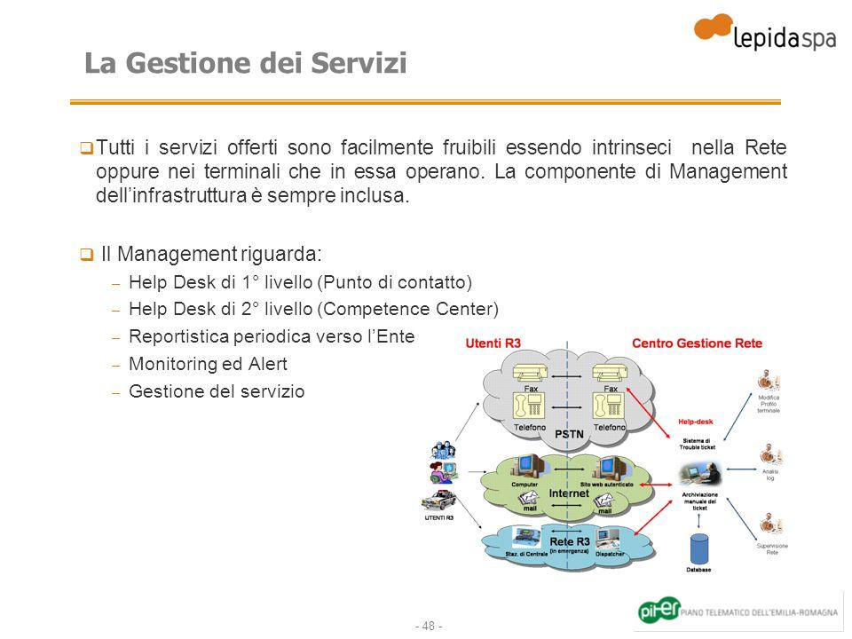 - 48 - La Gestione dei Servizi Tutti i servizi offerti sono facilmente fruibili essendo intrinseci nella Rete oppure nei terminali che in essa operano.