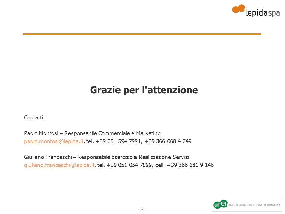 - 62 - Grazie per l'attenzione Contatti: Paolo Montosi – Responsabile Commerciale e Marketing paolo.montosi@lepida.itpaolo.montosi@lepida.it, tel. +39