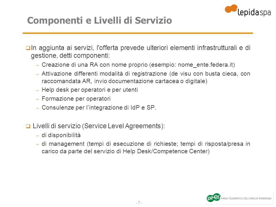 - 7 - Componenti e Livelli di Servizio In aggiunta ai servizi, l'offerta prevede ulteriori elementi infrastrutturali e di gestione, detti componenti: