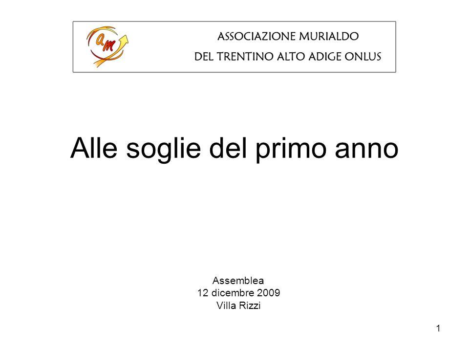 1 Alle soglie del primo anno Assemblea 12 dicembre 2009 Villa Rizzi