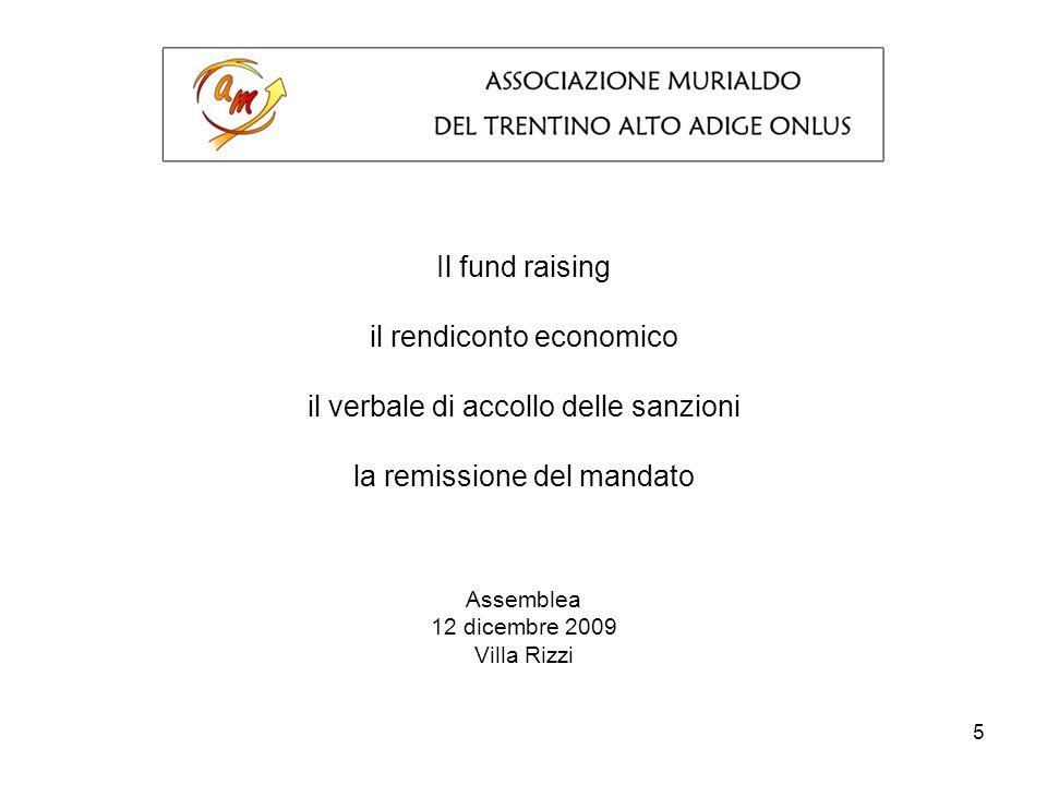 5 Il fund raising il rendiconto economico il verbale di accollo delle sanzioni la remissione del mandato Assemblea 12 dicembre 2009 Villa Rizzi