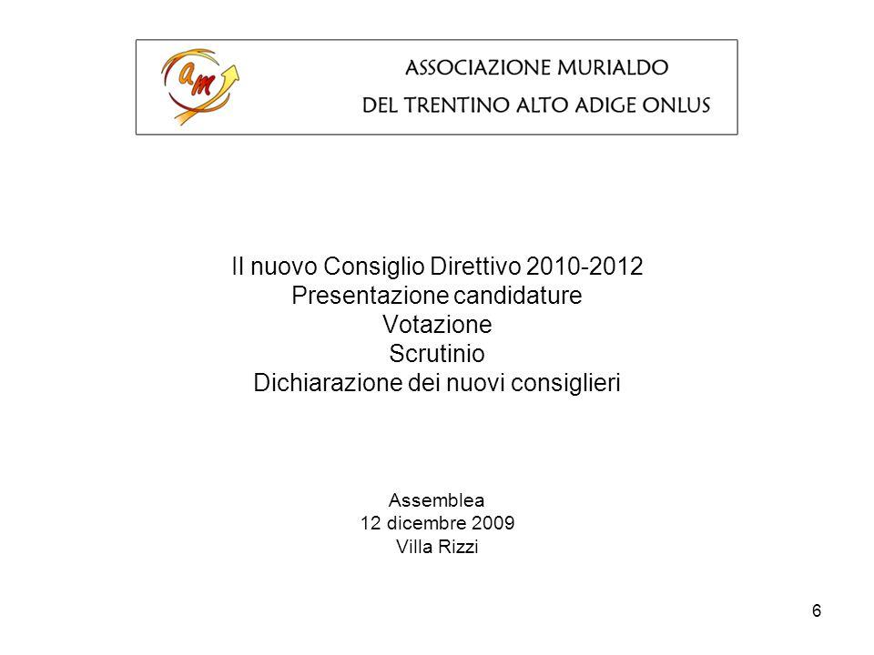 6 Il nuovo Consiglio Direttivo 2010-2012 Presentazione candidature Votazione Scrutinio Dichiarazione dei nuovi consiglieri Assemblea 12 dicembre 2009 Villa Rizzi
