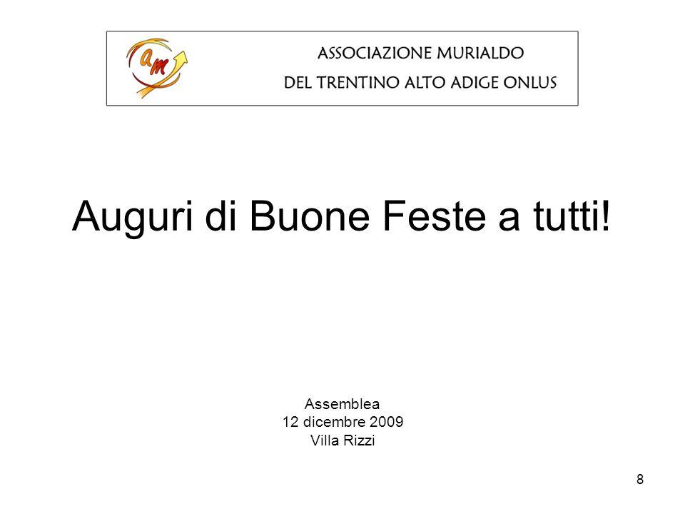 8 Auguri di Buone Feste a tutti! Assemblea 12 dicembre 2009 Villa Rizzi