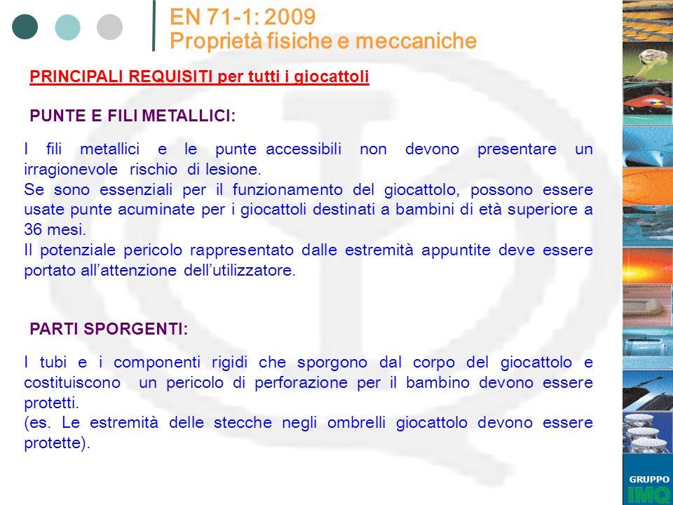 GRUPPO EN 71-1: 2009 Proprietà fisiche e meccaniche PRINCIPALI REQUISITI per tutti i giocattoli PUNTE E FILI METALLICI: I li metallici e le punte acce