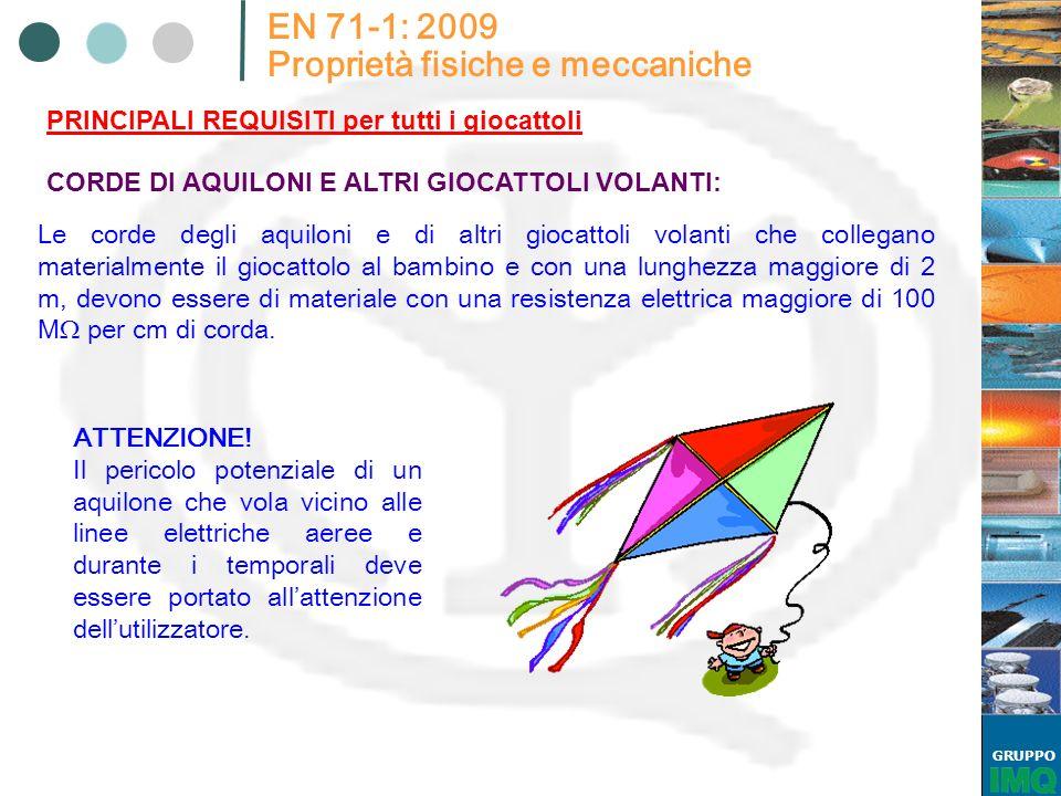 GRUPPO EN 71-1: 2009 Proprietà fisiche e meccaniche PRINCIPALI REQUISITI per tutti i giocattoli CORDE DI AQUILONI E ALTRI GIOCATTOLI VOLANTI: Le corde