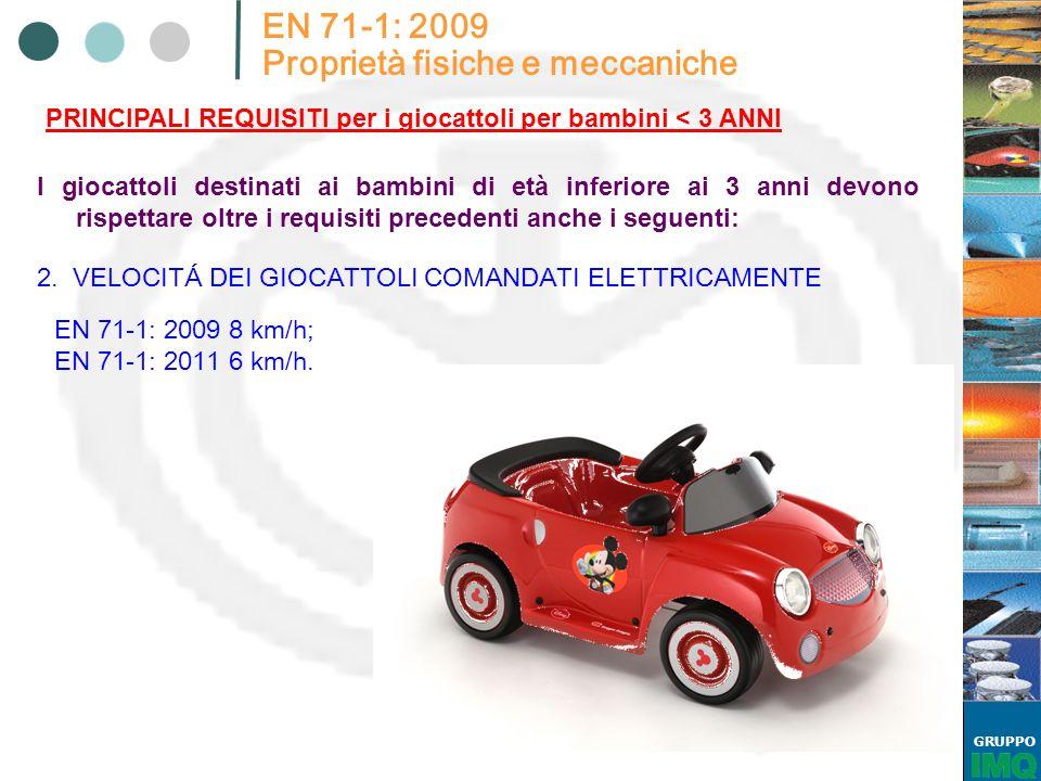 GRUPPO EN 71-1: 2009 Proprietà fisiche e meccaniche PRINCIPALI REQUISITI per i giocattoli per bambini < 3 ANNI I giocattoli destinati ai bambini di et
