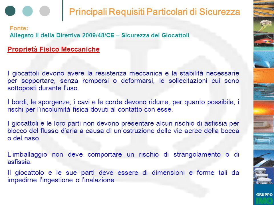GRUPPO EN 71-1: 2009 Proprietà fisiche e meccaniche PRINCIPALI TEST PROVA DEL CILINDRO DI PICCOLE PARTI 1.