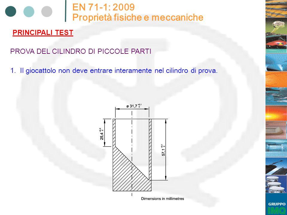 GRUPPO EN 71-1: 2009 Proprietà fisiche e meccaniche PRINCIPALI TEST PROVA DEL CILINDRO DI PICCOLE PARTI 1. Il giocattolo non deve entrare interamente