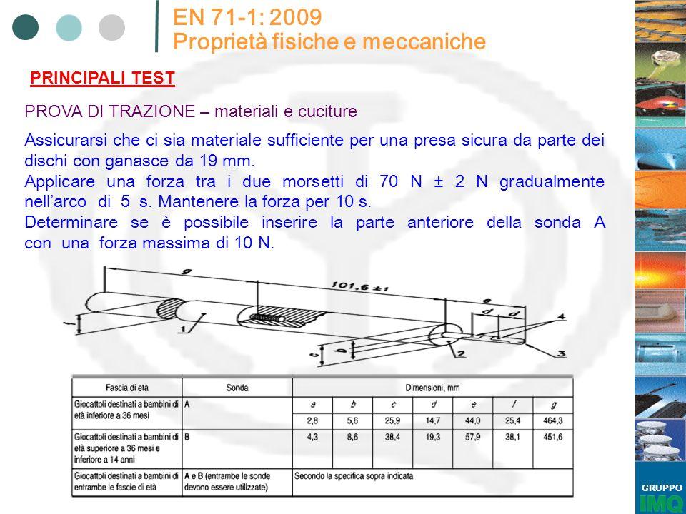 GRUPPO EN 71-1: 2009 Proprietà fisiche e meccaniche PRINCIPALI TEST PROVA DI TRAZIONE – materiali e cuciture Assicurarsi che ci sia materiale sufcient