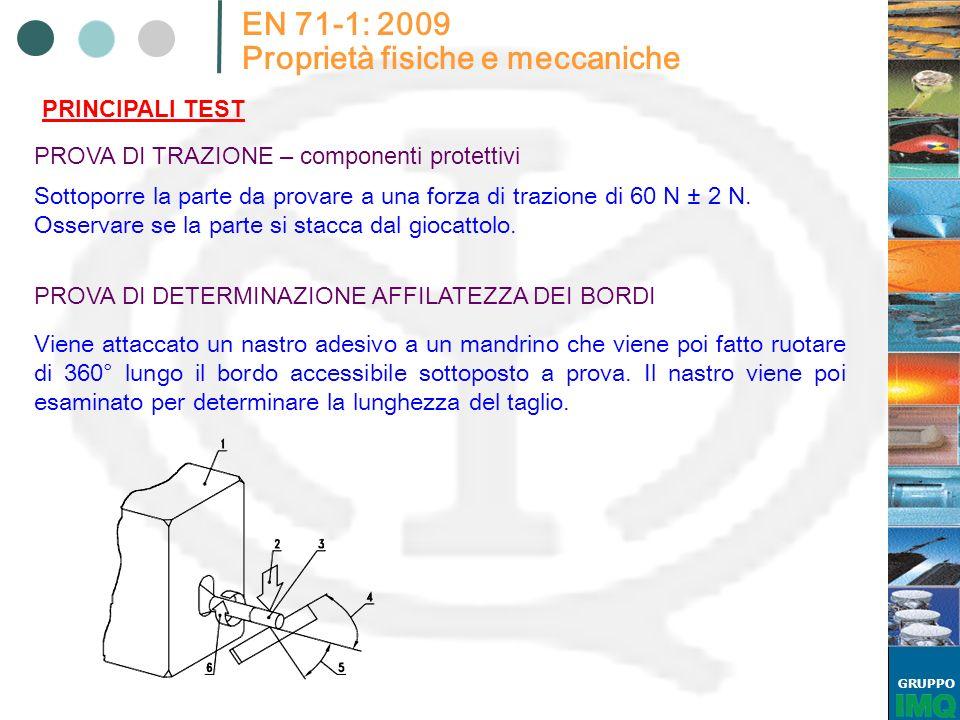 GRUPPO EN 71-1: 2009 Proprietà fisiche e meccaniche PRINCIPALI TEST PROVA DI TRAZIONE – componenti protettivi Sottoporre la parte da provare a una for