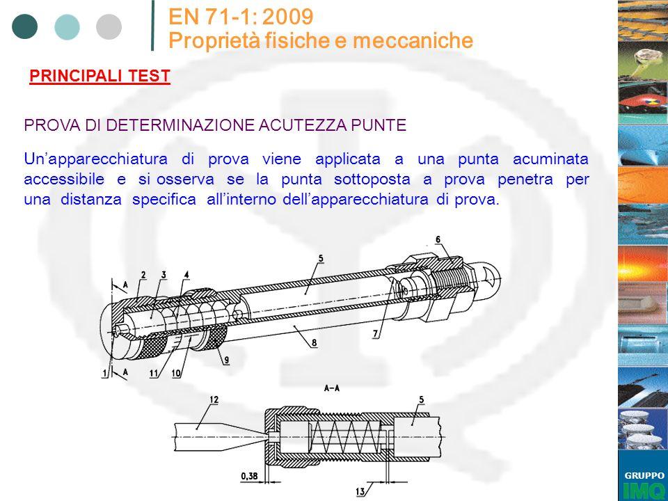 GRUPPO EN 71-1: 2009 Proprietà fisiche e meccaniche PRINCIPALI TEST PROVA DI DETERMINAZIONE ACUTEZZA PUNTE Unapparecchiatura di prova viene applicata