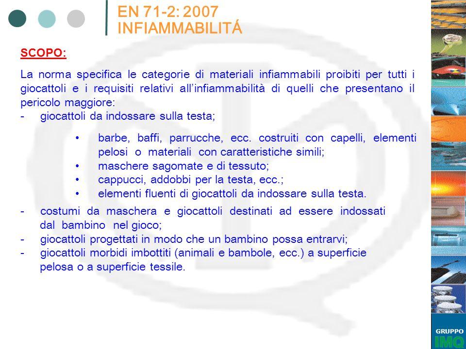 GRUPPO EN 71-2: 2007 INFIAMMABILITÁ La norma specifica le categorie di materiali infiammabili proibiti per tutti i giocattoli e i requisiti relativi a