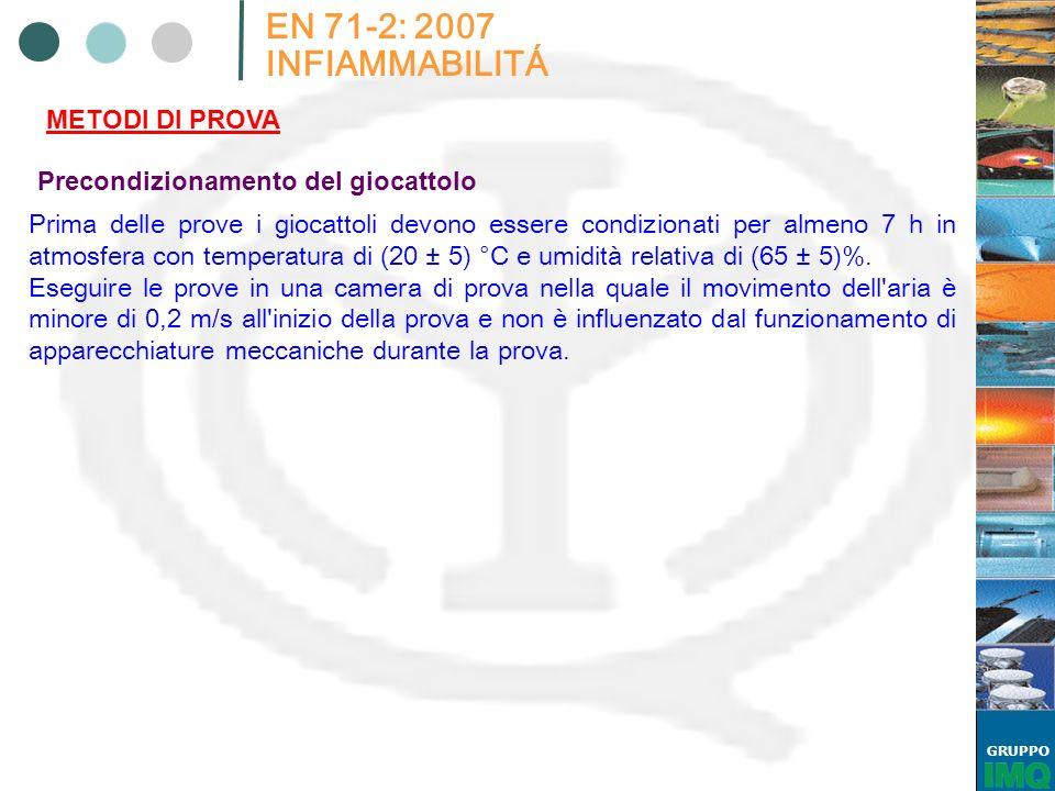 GRUPPO EN 71-2: 2007 INFIAMMABILITÁ METODI DI PROVA Precondizionamento del giocattolo Prima delle prove i giocattoli devono essere condizionati per al