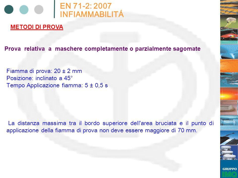 GRUPPO EN 71-2: 2007 INFIAMMABILITÁ METODI DI PROVA Prova relativa a maschere completamente o parzialmente sagomate Fiamma di prova: 20 ± 2 mm Posizio