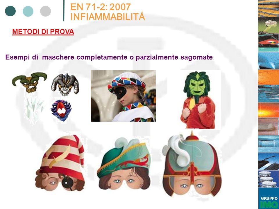 GRUPPO EN 71-2: 2007 INFIAMMABILITÁ METODI DI PROVA Esempi di maschere completamente o parzialmente sagomate