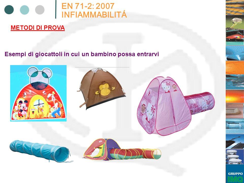 GRUPPO EN 71-2: 2007 INFIAMMABILITÁ METODI DI PROVA Esempi di giocattoli in cui un bambino possa entrarvi