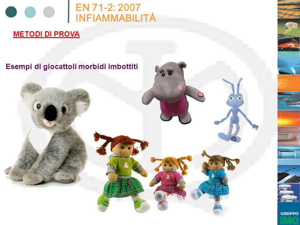 GRUPPO EN 71-2: 2007 INFIAMMABILITÁ METODI DI PROVA Esempi di giocattoli morbidi imbottiti