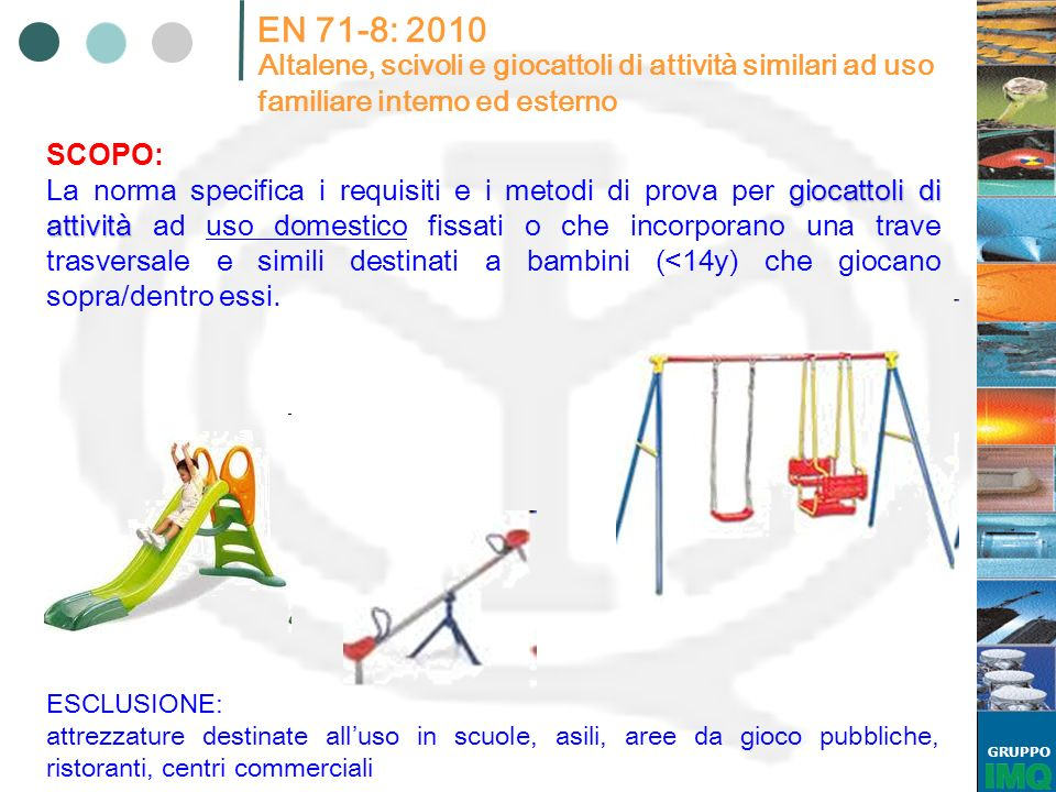 GRUPPO EN 71-8: 2010 Altalene, scivoli e giocattoli di attività similari ad uso familiare interno ed esterno giocattoli di attività La norma specifica