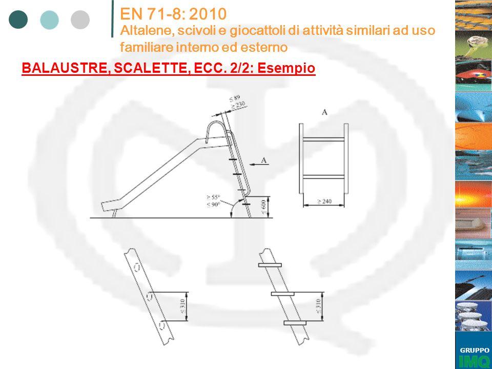 GRUPPO EN 71-8: 2010 Altalene, scivoli e giocattoli di attività similari ad uso familiare interno ed esterno BALAUSTRE, SCALETTE, ECC. 2/2: Esempio