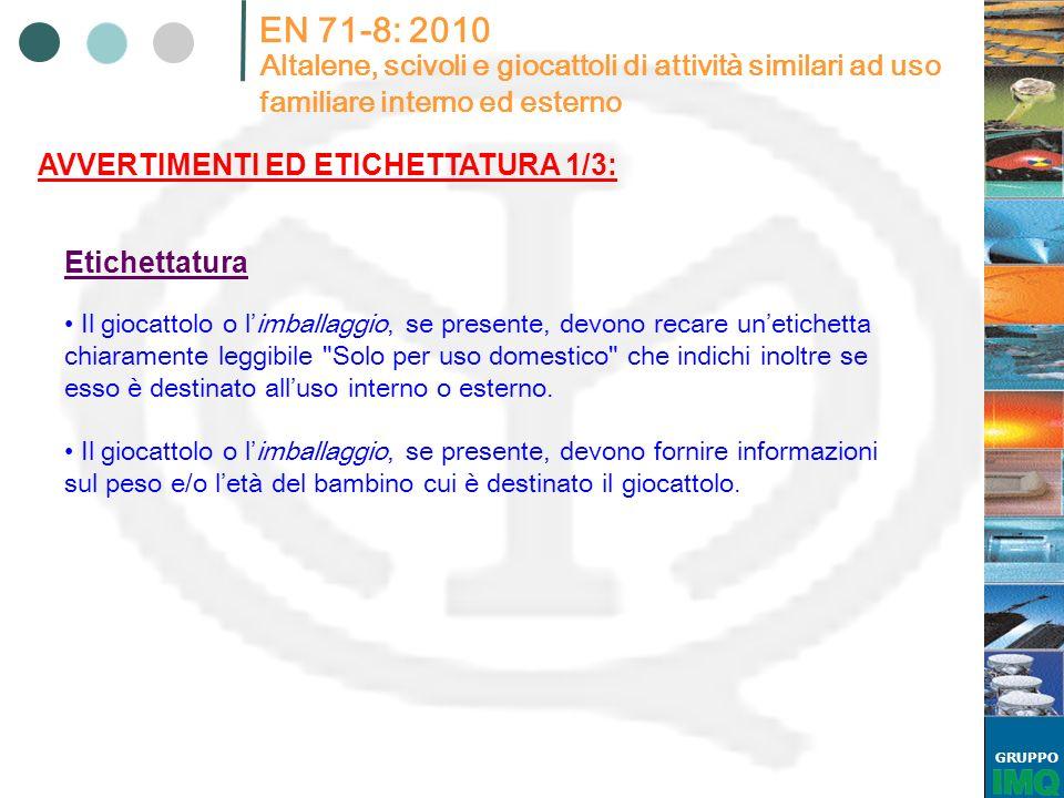 GRUPPO EN 71-8: 2010 Altalene, scivoli e giocattoli di attività similari ad uso familiare interno ed esterno AVVERTIMENTI ED ETICHETTATURA 1/3: Il gio
