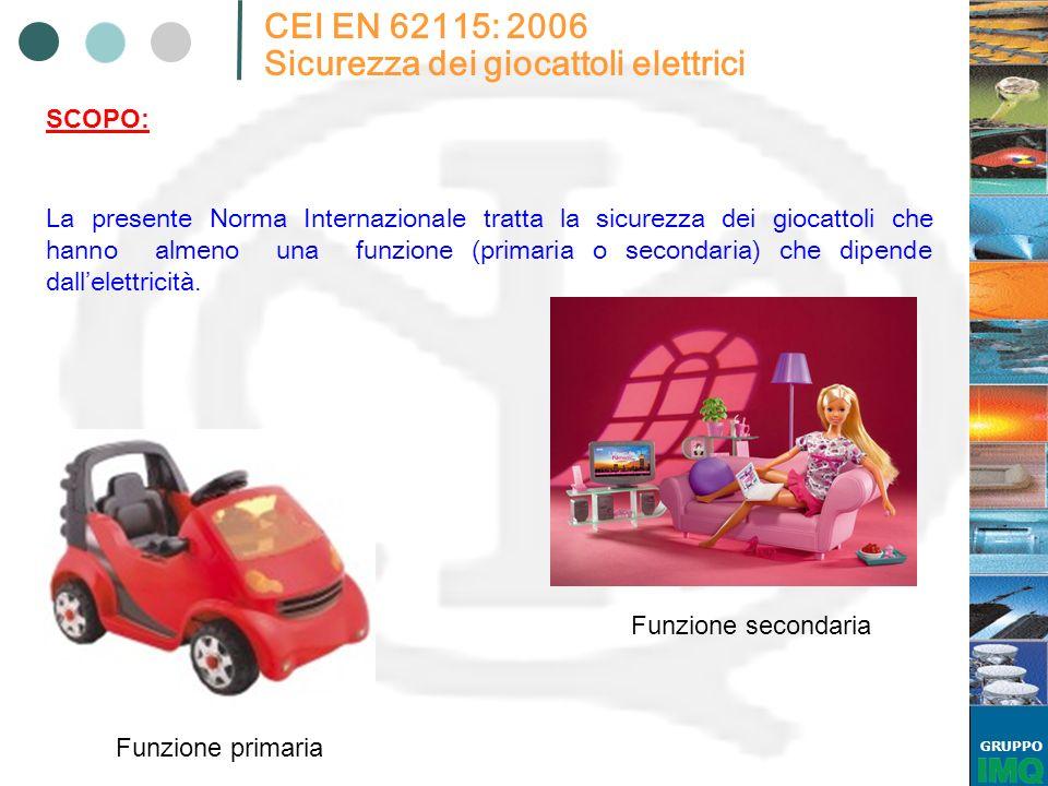GRUPPO CEI EN 62115: 2006 Sicurezza dei giocattoli elettrici La presente Norma Internazionale tratta la sicurezza dei giocattoli che hanno almeno una