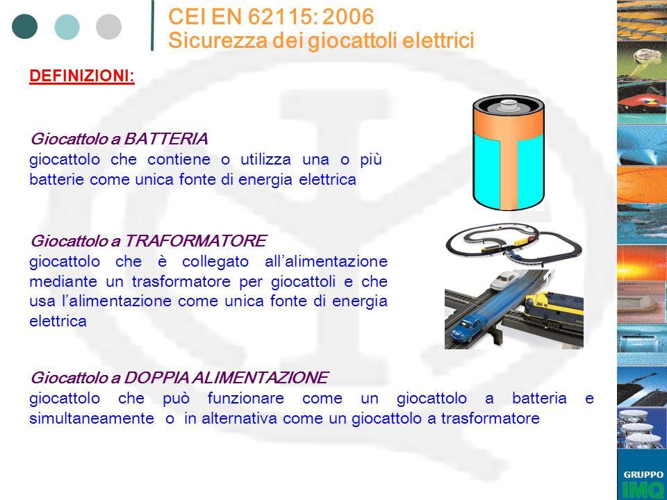 GRUPPO CEI EN 62115: 2006 Sicurezza dei giocattoli elettrici Giocattolo a BATTERIA giocattolo che contiene o utilizza una o più batterie come unica fo