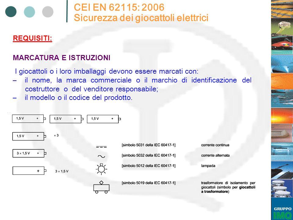 GRUPPO CEI EN 62115: 2006 Sicurezza dei giocattoli elettrici I giocattoli o i loro imballaggi devono essere marcati con: – il nome, la marca commercia