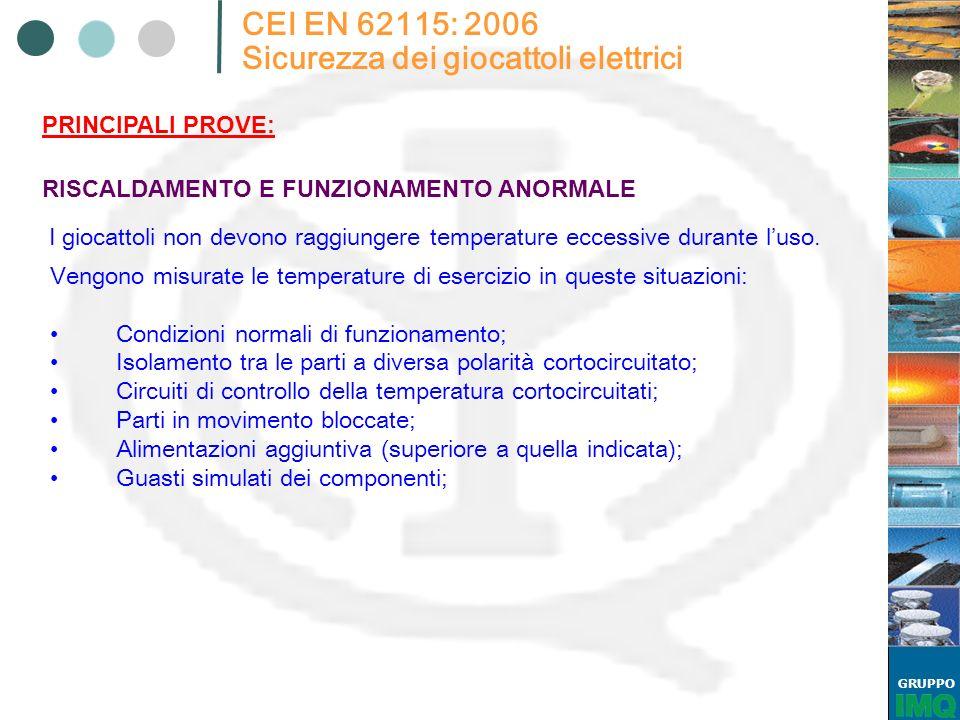 GRUPPO CEI EN 62115: 2006 Sicurezza dei giocattoli elettrici I giocattoli non devono raggiungere temperature eccessive durante luso. RISCALDAMENTO E F