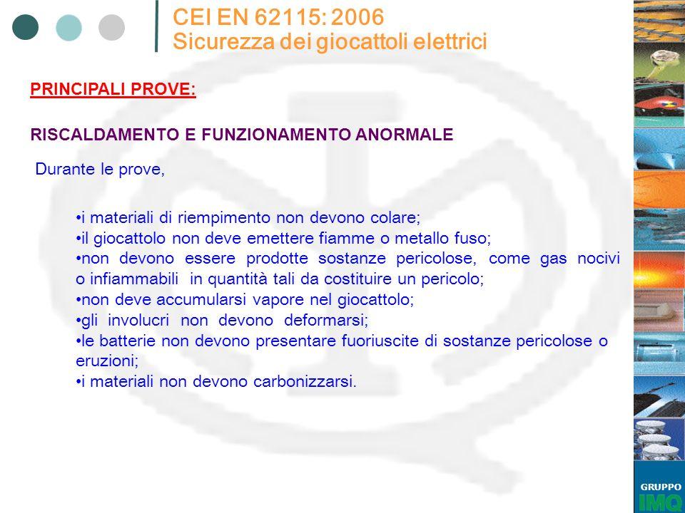 GRUPPO CEI EN 62115: 2006 Sicurezza dei giocattoli elettrici Durante le prove, RISCALDAMENTO E FUNZIONAMENTO ANORMALE PRINCIPALI PROVE: i materiali di
