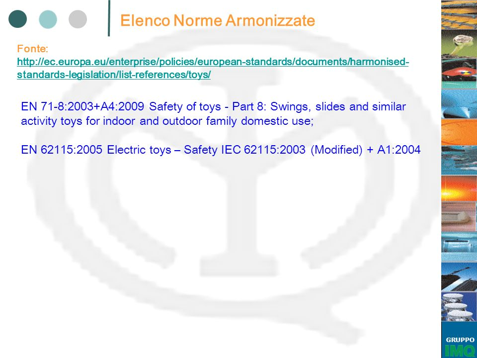 GRUPPO Elenco Norme Armonizzate Fonte: http://ec.europa.eu/enterprise/policies/european-standards/documents/harmonised- standards-legislation/list-ref