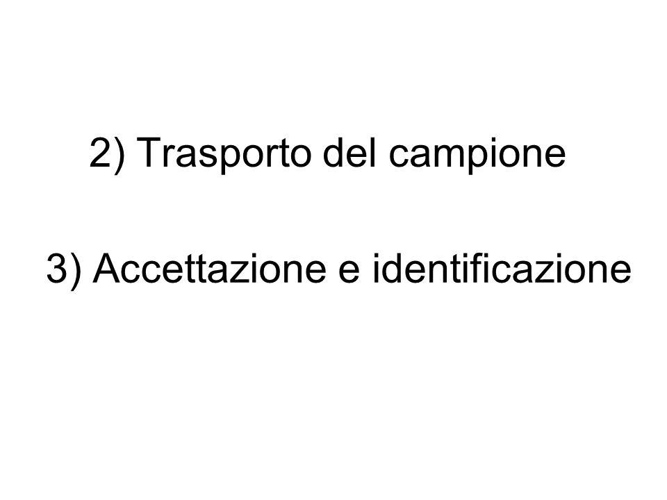2) Trasporto del campione 3) Accettazione e identificazione